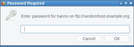 Firefox FTP password dialog