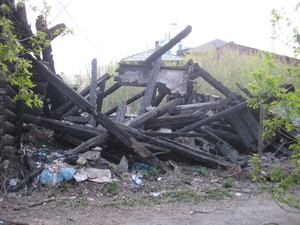 Burned house in Irkutsk