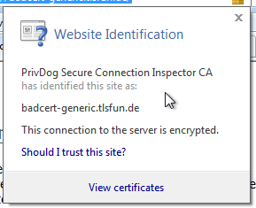 Certificate interception