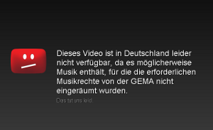 GEMA-Sperre auf Youtube